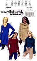 butterick sewing pattern b 5679 women s knit tops tunics xs m fast easy