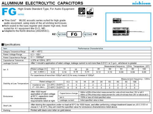 JAPAN 10pcs Nichicon MUSE FG(Fine Gold 47Uf  50V 47mfd Audio Capacitor