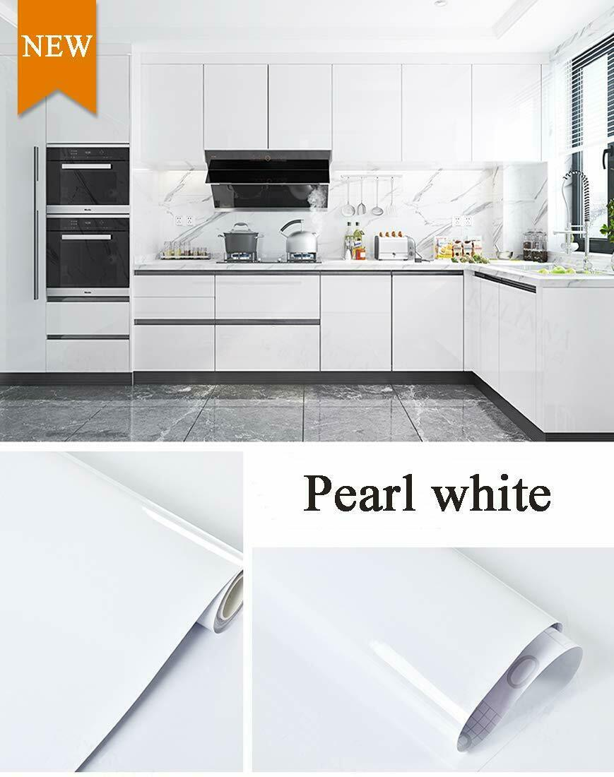 White Glossy Self Adhesive Wallpaper Peel and Stick luster Contact Paper Decor