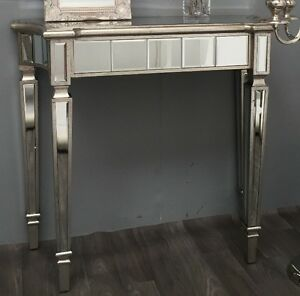Image Is Loading Venetian Gl Console Table Antique Silver Mirrored Hall
