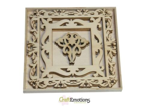 FRAMES WITH ORNAMENTS Large 0228 Craft Emotions BOX of 15 WOODEN SHAPES