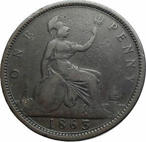 1863-UK-Great-Britain-United-Kingdom-QUEEN-VICTORIA-Genuine-Penny-Coin-i79521