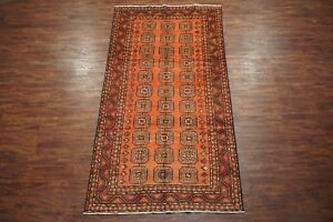 Antique-5X10-Persian-Kurdish-Bukhara-Gallery-Runner-Hand-Knotted-Wool-5-1-x-10