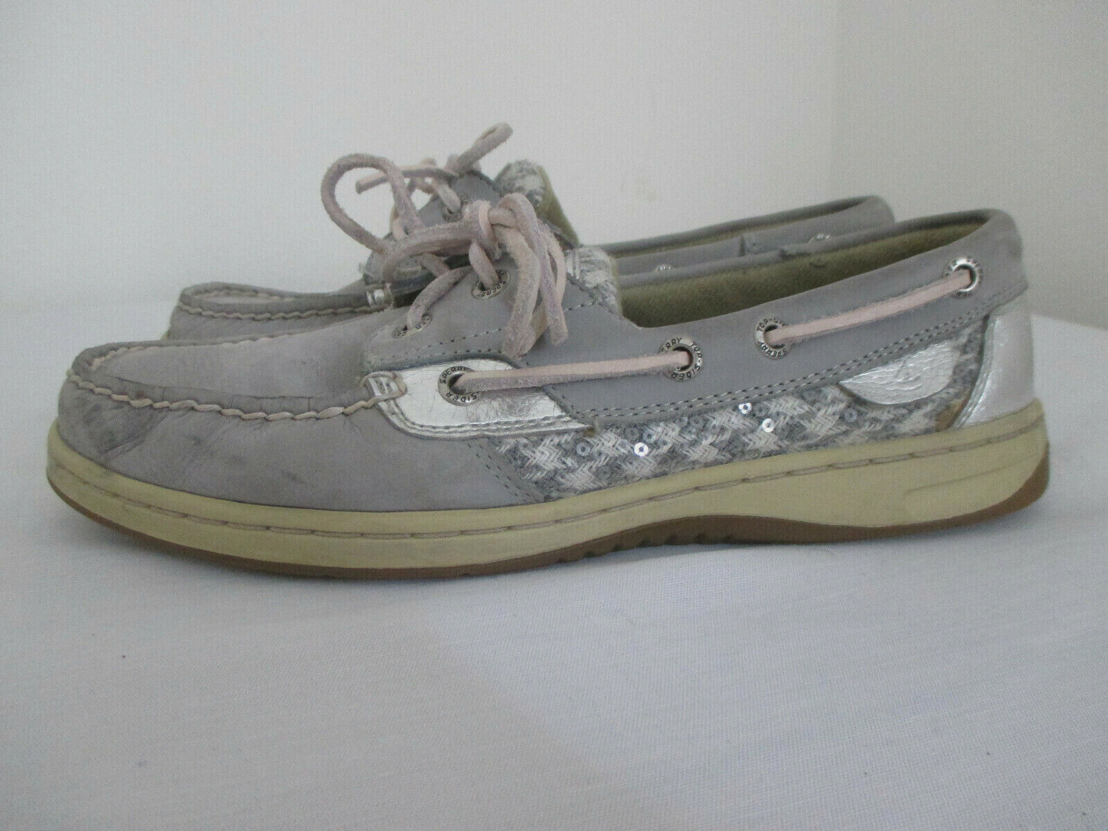 Sperry Top-Sider Women's Casual Boat Shoes Sz 7 M Gray Leather Mesh Siding