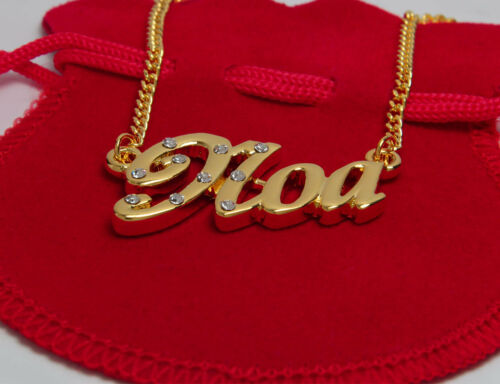 """Necklace With Name /""""Noa/"""" 18K Gold PlatedPersonalised Czech Rhinestones"""