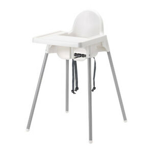 Highchair with Tray Safety Belt, White, Silver Color