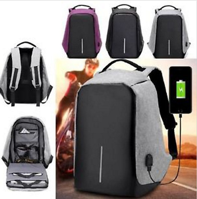 Anti-theft Mens Womens Laptop Notebook Backpack + USB Charging Port School Bag
