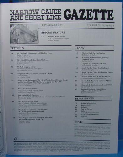 On3,On30,SN3,HOn3 NARROW GAUGE AND SHORT LINE GAZETTE MAGAZINE JUL//AUG 2003
