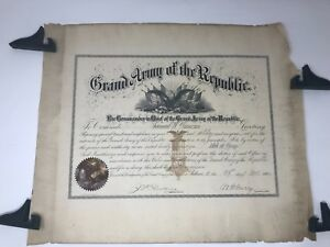 CIVIL-WAR-GRAND-ARMY-OF-THE-REPUBLIC-CERTIFICATE-WITH-ORIGINAL-MAILING-SLEEVE