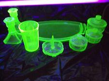 Vintage 11 Piece Mid Century Uranium Green Depression Vaseline Glass Vanity Set