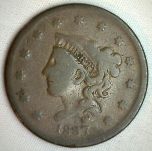 1837-Coronet-Large-Cent-US-Copper-Type-Coin-Very-Good-M9-Genuine-US-Penny