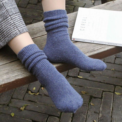 Womens Cashmere Wool High Solid Thick Winter Warm Soft Comfort Boot Socks Gift
