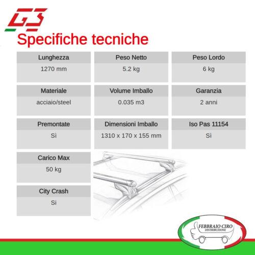 G3 Kit Barre Tetto Portatutto Pacific 127cm Suzuki Celerio 2014/> 65.130+68.011