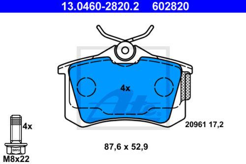 3B6 HA Beläge Hinterachse für VW PASSAT Variant ATE Powerdisc Bremsscheiben
