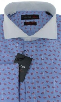Tiglio Rosso Blue Red Polka Cutaway Collar Dress Shirt V-64393