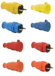 Schuko-Stecker-Kupplung-Schutzkontakt-Gummikupplung-Gummistecker-Gummi-IP44-NEU