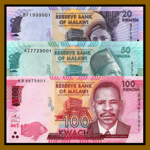 2016 P-63//64//65 New Unc 3 Pcs Set Malawi 20 50 100 Kwacha