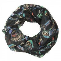 Nintendo Zelda Action And Icons Aop Black Infinity Soft Polyester Scarf