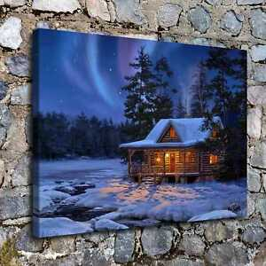 16 X22 Christmas Cabin Painting Hd Canvas Print Home Decor Room Wall Picture Ebay