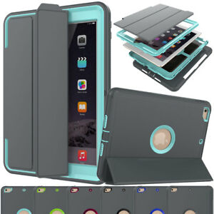 For iPad 9.7 2018 2017 5th 6th Gen Smart Leather Hybrid Rugged Tough Case Cover