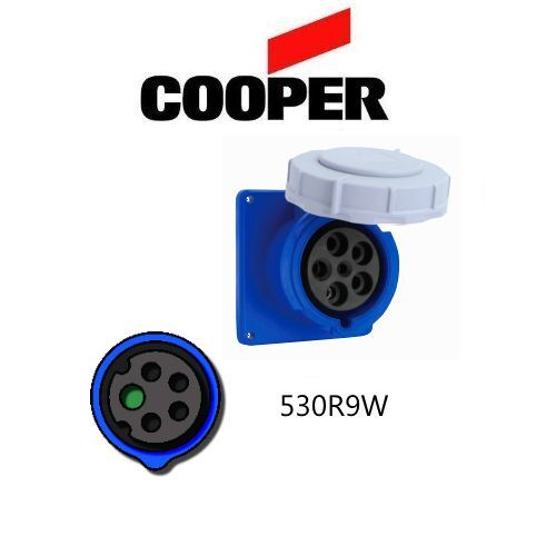 30A,120//208V Blue Cooper # AH530R9W 3-Phase 4P//5W IEC 309 530R9W Receptacle