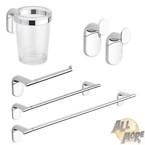 Set accessori appoggio bagno cromato acciaio inox fissaggio a muro 4 pezzi kit ebay - Accessori bagno acciaio inox ...