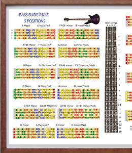 BASS SLIDE RULE POSTER 5 POSITIONS EVERY NOTE IN ANY KEY