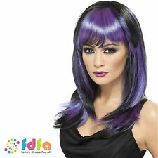 BLACK & PURPLE LONG GLAMOUR WITCH WIG women ladies fancy dress costume halloween