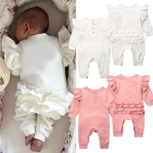 Newborn Baby Girls Winter Clothes Long Sleeve Ruffle Romper Bodysuit Outfits UK