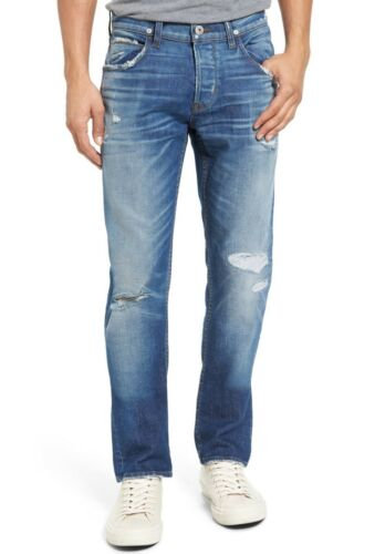 Hudson Jeans Men/'s Blake Slim Straight Leg Jeans Method Distressed AIM Denim