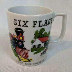 Vintage-Six-Flags-Over-Mid-America-Coffee-Mug-Cup-Japan-Ceramic-Train-Car-etc