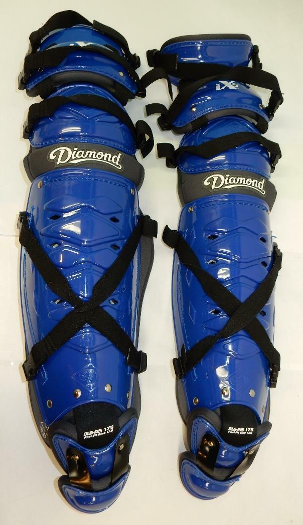 Diamond Sports iX5 Deluxe Triple Knee Posi-Fit Leg Guards, 17.5-Inch, Royal