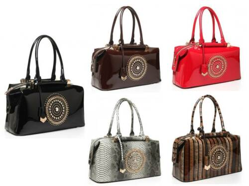 New Office Womans Bandolera Uk tachonada azul Ladies Patente Fashion Diamante bolso rxqr0Ed4w