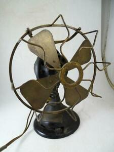 Antique-Brass-Blade-Oscillating-Table-Fan-Menominee-Electric-Manufacturing-Vtg