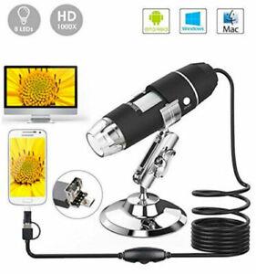 MICROSCOPIO-USB-DIGITALE-1000X-PC-NOTEBOOK-FOTO-VIDEO-8LED-2-0-MPX-STAFFA-3-IN-1