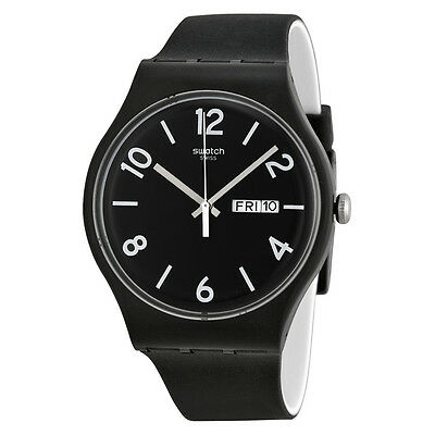 Swatch Backup Black Dial Black Silicone Unisex Watch SUOB715
