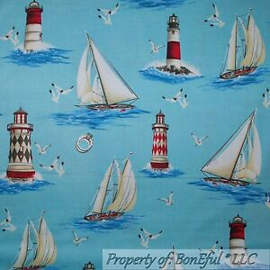 BonEful-Fabric-FQ-Cotton-Quilt-Blue-Red-Beach-Seagull-Ocean-Lighthouse-Sail-Boat