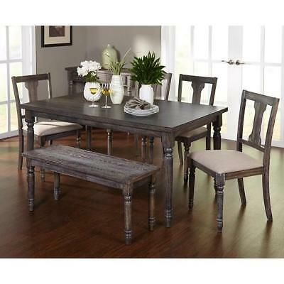 Rustic Dining Table Set 6 Piece Gray Weathered Kitchen Chairs Bench Farmhouse 24319902152 Ebay