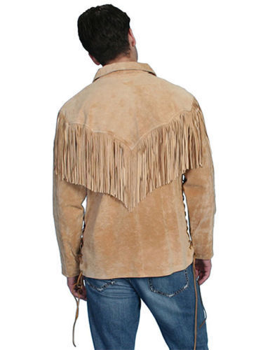 Qmuk Western Uomo in pelle scamosciata con frange giacca a camicia