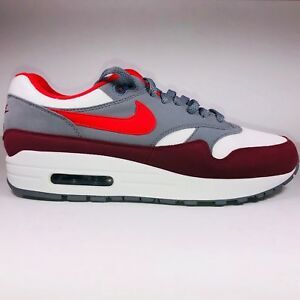ed25be95883b8 Nike Air Max 1 White Red   Cool Gray Running Sneakers AH8145-100 ...