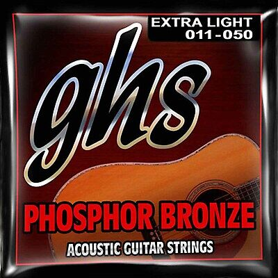 Cordes Phosphor Bronze GHS Extra-Light Acoustic Guitar Strings 11-50  S315 CLOSE