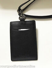 NWT Coach ID Lanyard Longer Black Leather Holder Credit Card Case Pass 58114