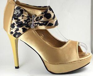 Señoras para mujer de Oro y Negro Peep Toe Platform Court Shoes Abierto Tacón Alto Zapatos De Salón
