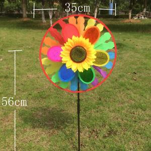 Sunflower-Windmill-Triple-Wind-Spinner-Yard-Garden-Decoration-Child-Kids-TTPO