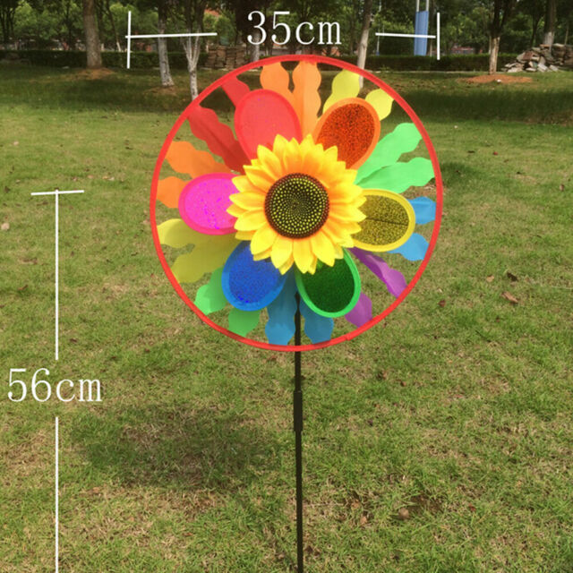 Sunflower Windmill Triple Wind Spinner Yard Garden Decoration Child Kids ToyJKU