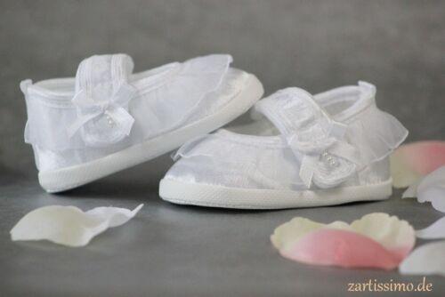Taufschuhe Babyschuhe Ballerinas in CREME oder WEISS edel Taufe Hochzeit ♥ NEU