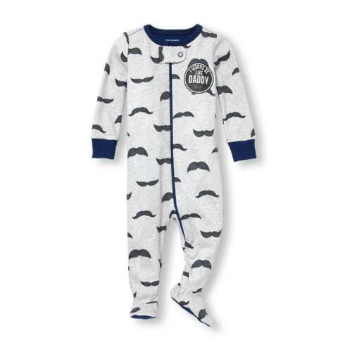 NWT The Childrens Place Mustache Boys Footed Stretchie Sleeper Pajamas