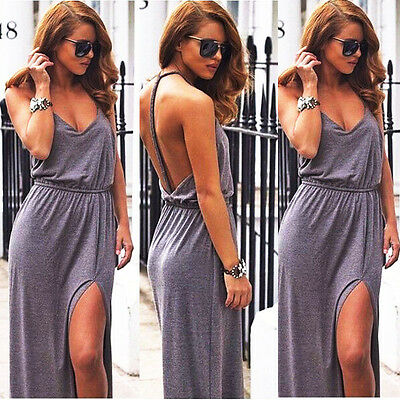 Women Sexy Backless Summer Boho Maxi Long Evening Party Dress Beach Long Dress