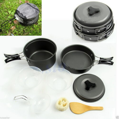 8pcs Outdoor Camping Hiking Cookware Backpacking Cooking Picnic Bowl Pot Pan #Q