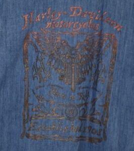 79af4ffccd0 Harley Davidson Mens XL Navy Blue Denim Shirt Bronze Eagle Logo on ...